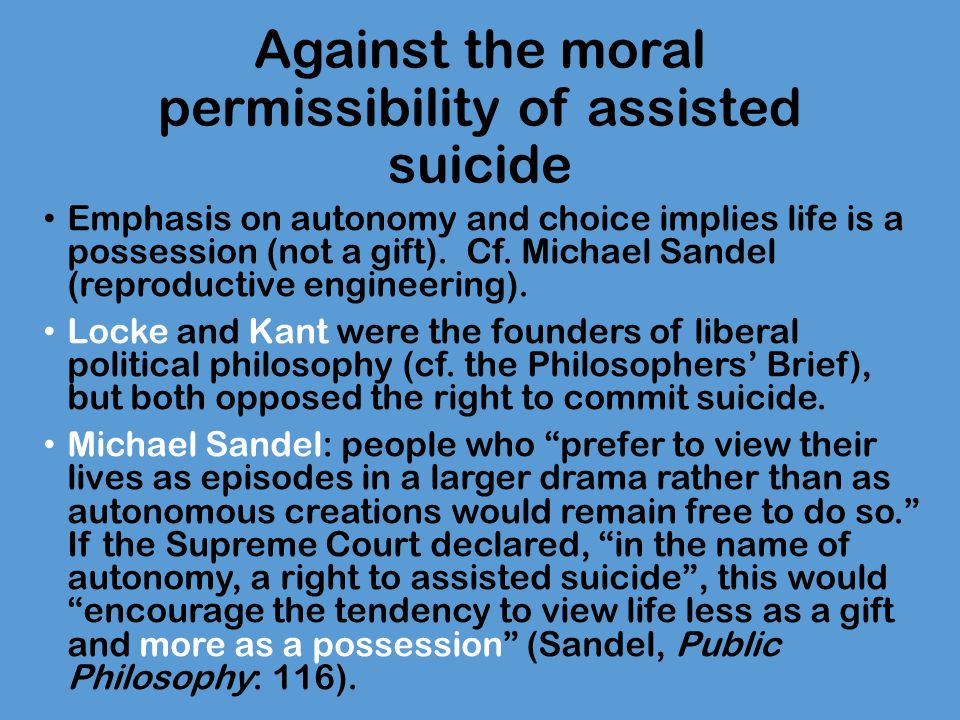 the morality of assisted suicide essay This free health essay on essay: physician-assisted suicide - the right to die is perfect for health students to use as an example.