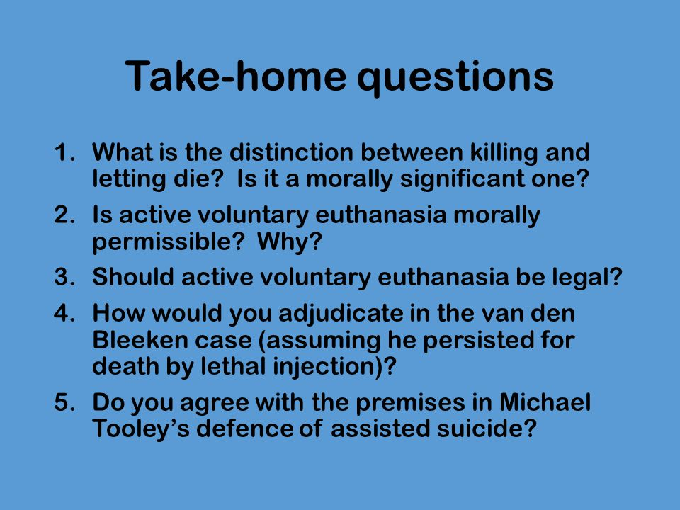 euthanasia killing or letting die essay Euthanasia (essay sample)  passive euthanasia can be described as letting die which means allowing the internal organs to break down naturally without providing .