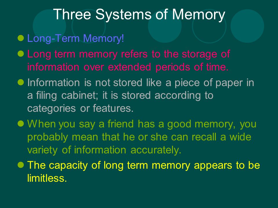 categorisation in long term memory essay Working memory and categorization 3 working memory capacity and categorization: individual di erences and modeling is this furry animal a siamese or a ragdoll cat.