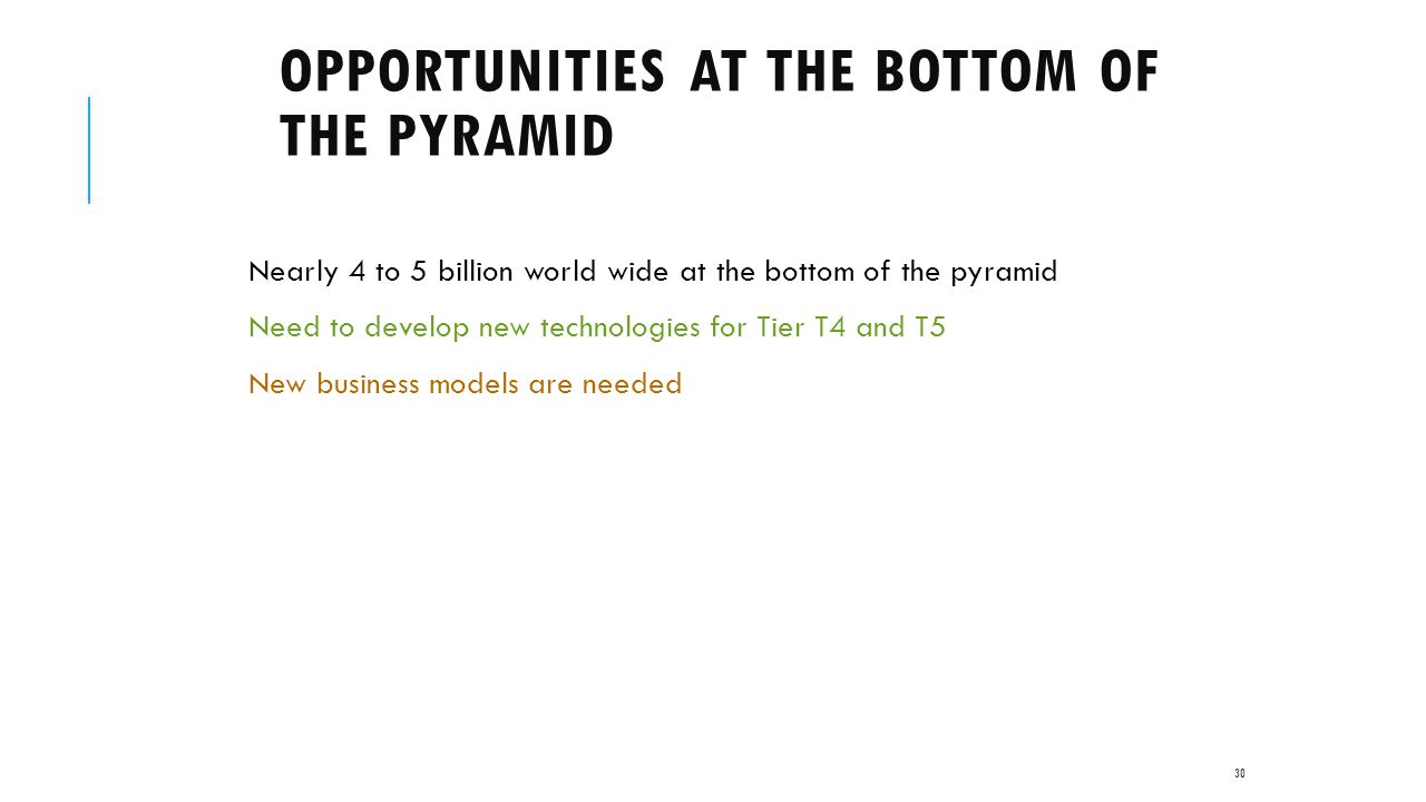 opportunities at the bottom of the Bottom of the pyramid: bottom of the pyramid (bop) bop approaches contend that mncs in particular have the incentive (growth opportunities), the financial resources, and the capabilities at the bottom of the article.