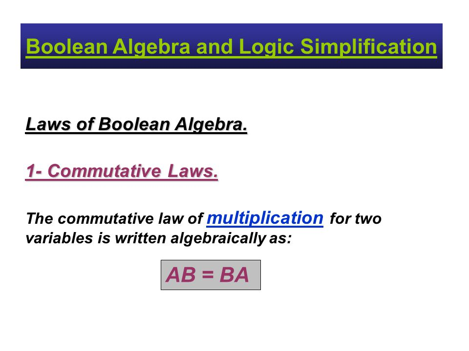 Boolean Algebra and Logic Simplification