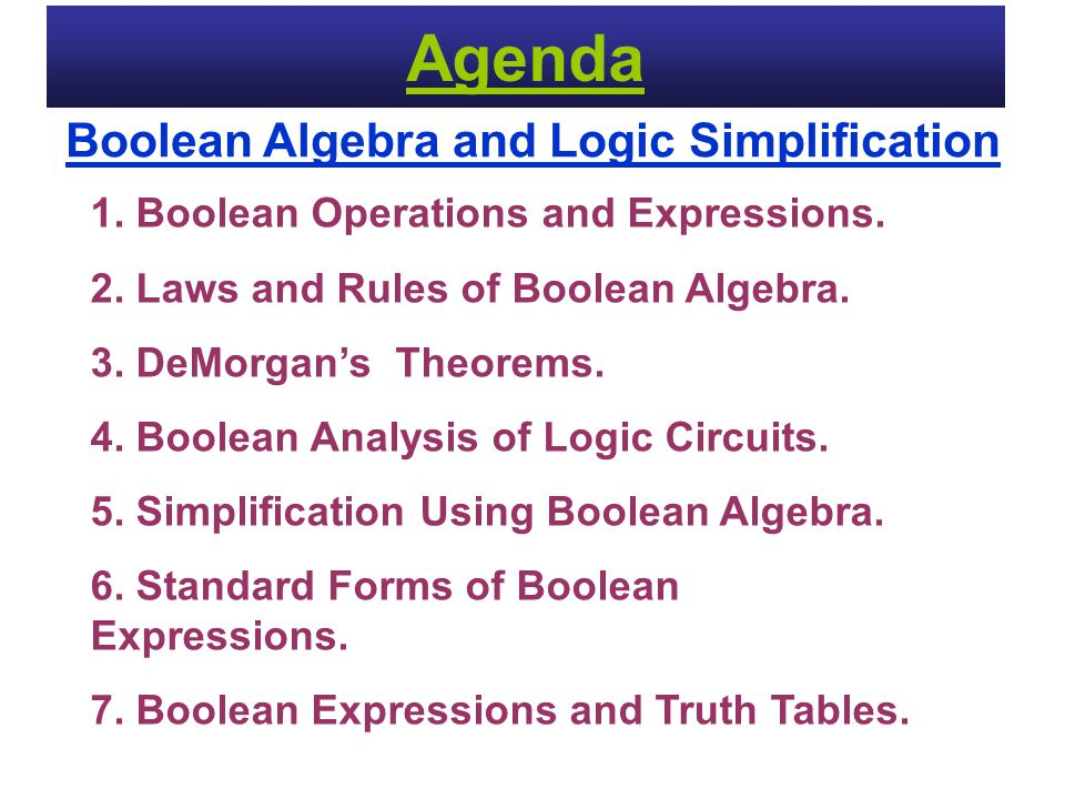 Agenda Boolean Algebra and Logic Simplification
