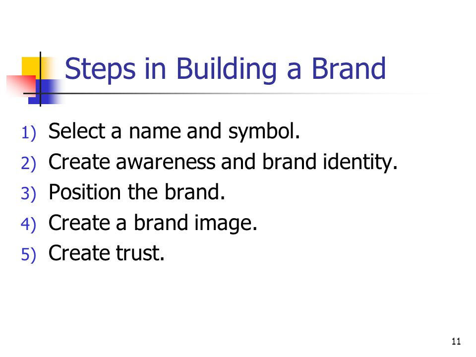 Steps in Building a Brand