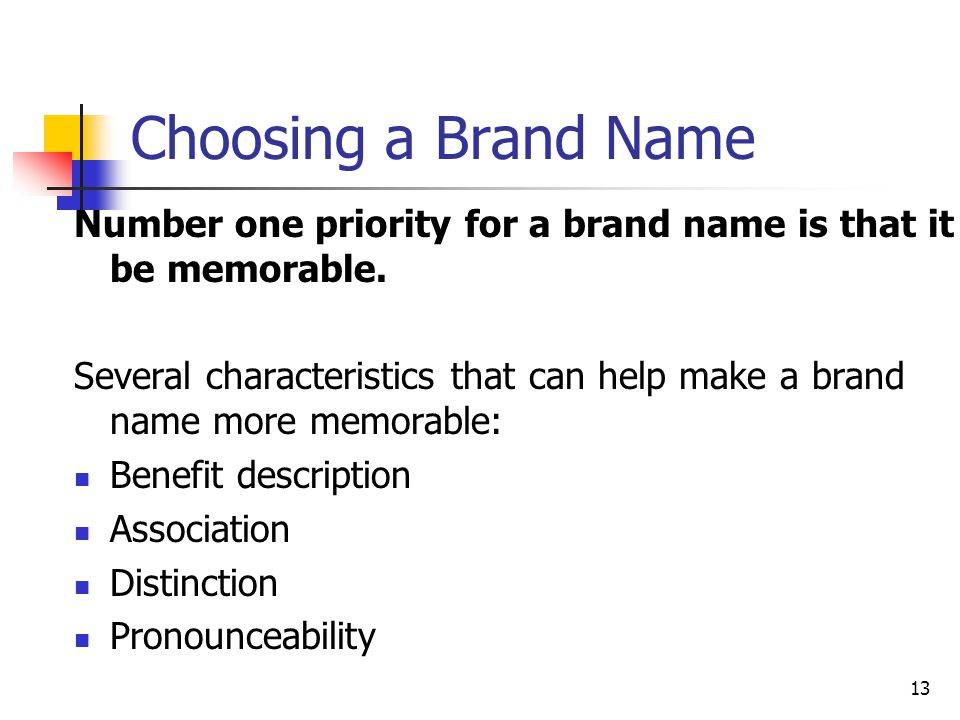 Choosing a Brand Name Number one priority for a brand name is that it be memorable.