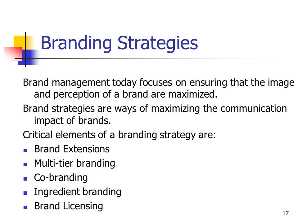 Branding Strategies Brand management today focuses on ensuring that the image and perception of a brand are maximized.