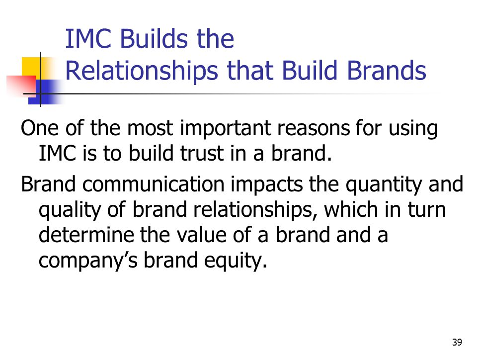 IMC Builds the Relationships that Build Brands