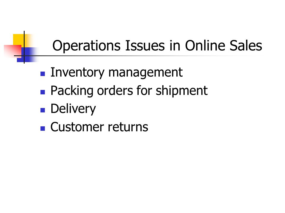 Operations Issues in Online Sales