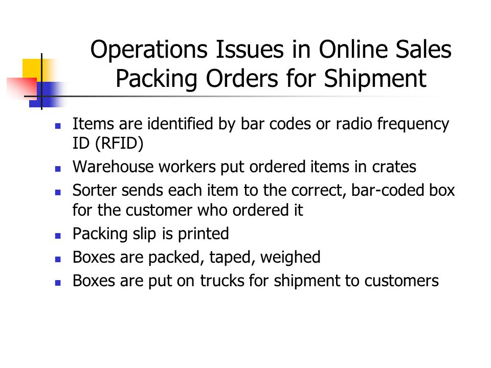 Operations Issues in Online Sales Packing Orders for Shipment