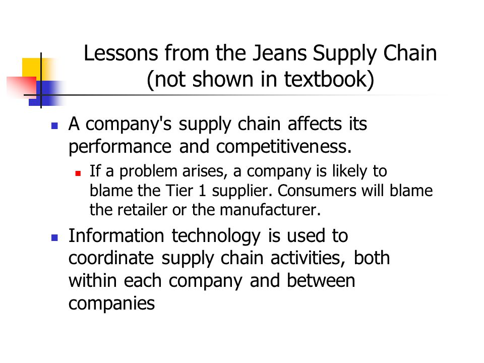 Lessons from the Jeans Supply Chain (not shown in textbook)