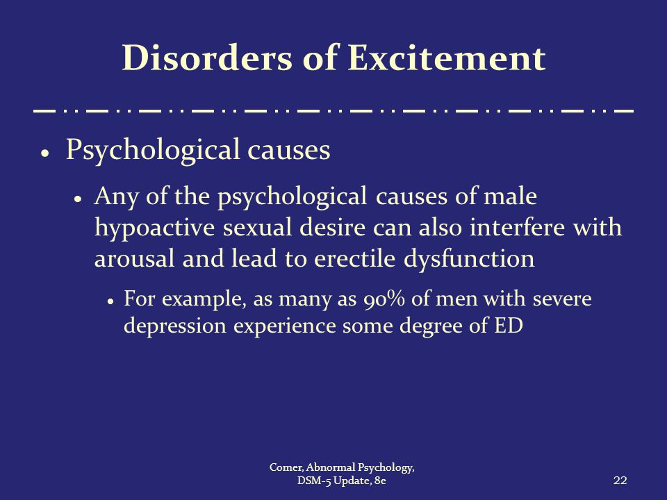 Psychological disorders on a sexual basis