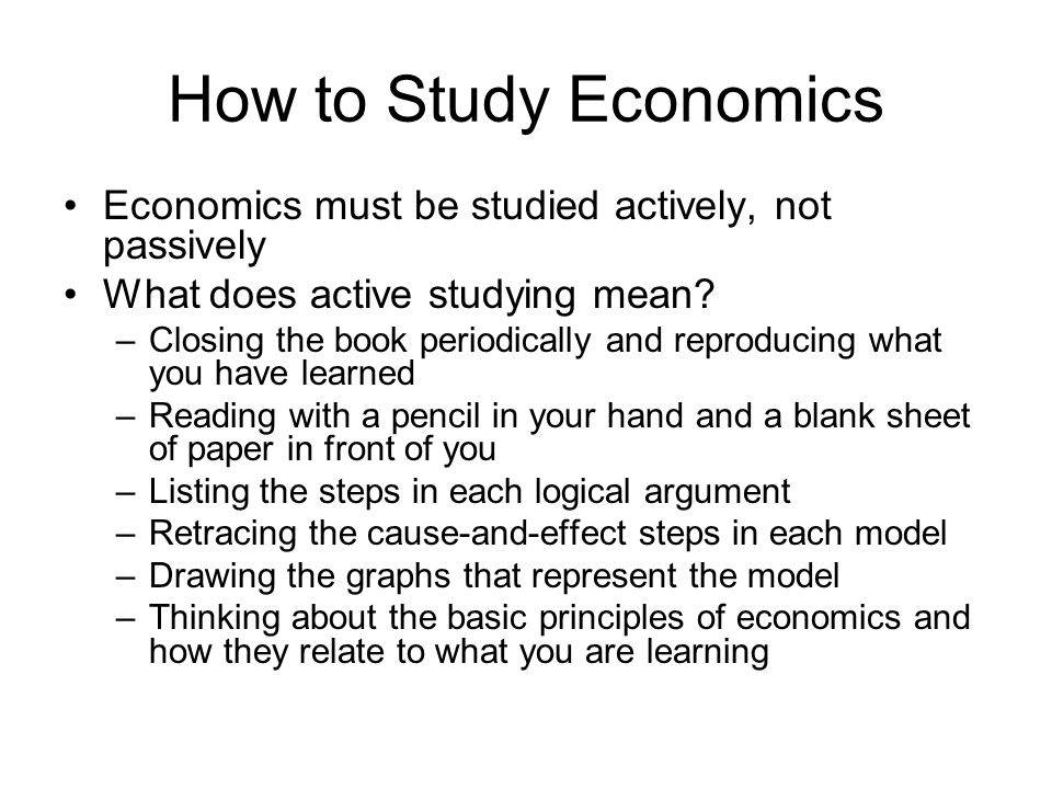 how to study economics on your own