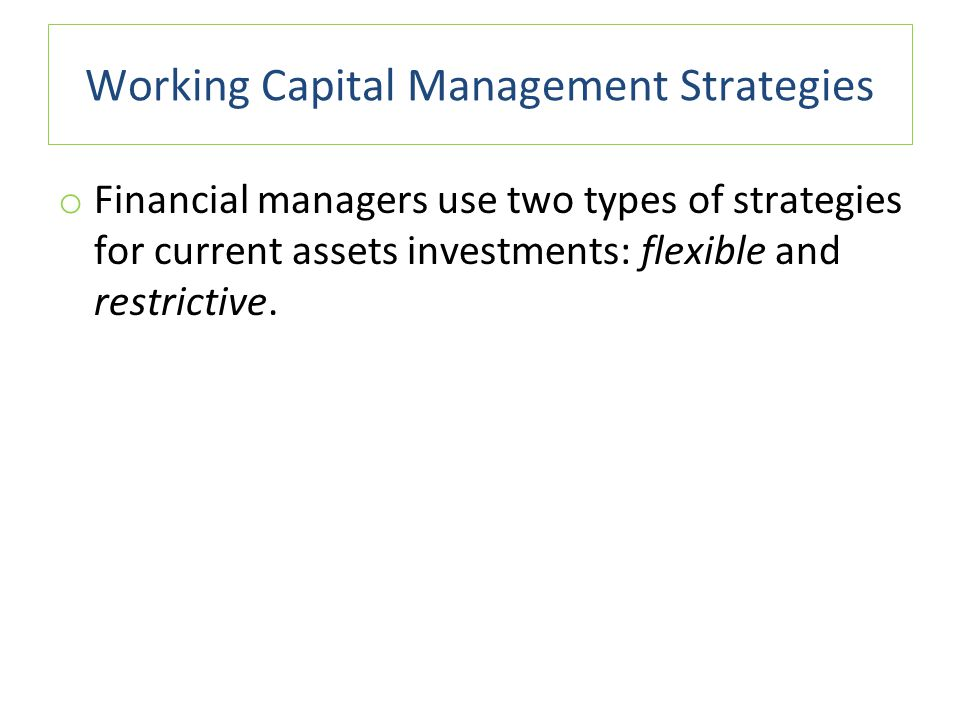 working capital management strategies pdf