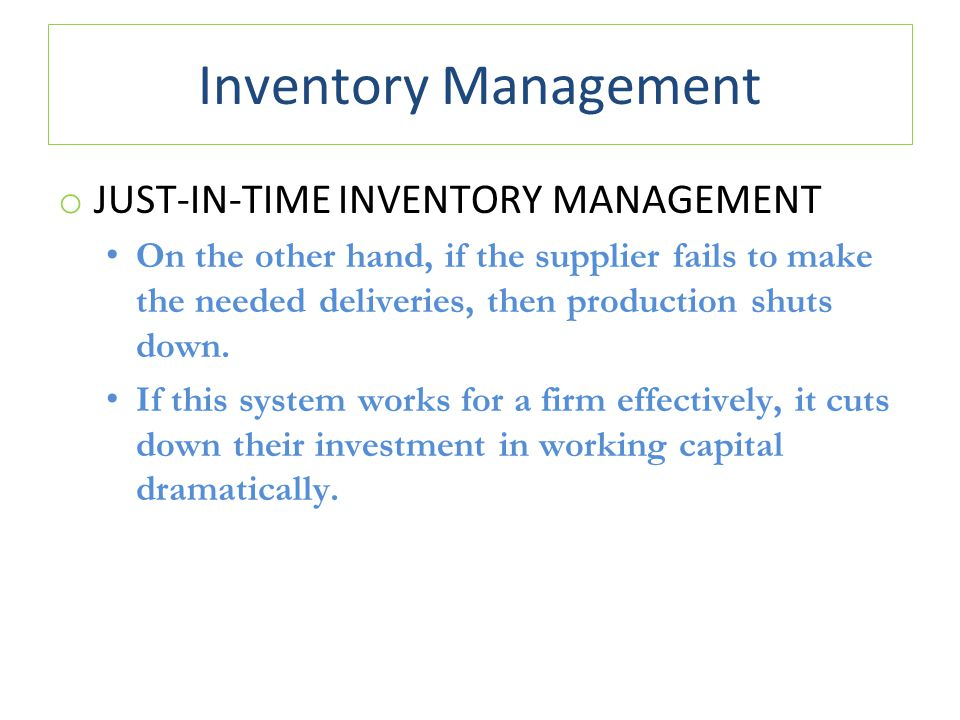 Just in Time Inventory Definition