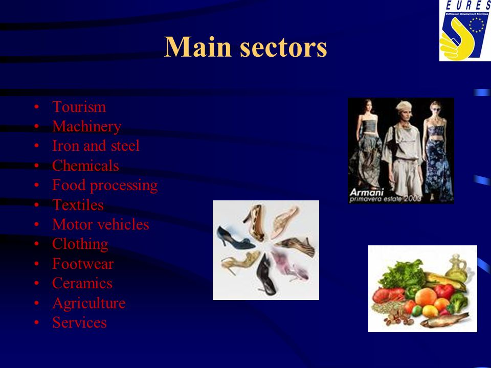 Main sectors Tourism Machinery Iron and steel Chemicals