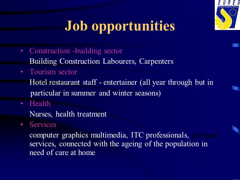 Job opportunities Construction -building sector