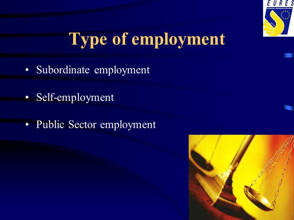 Type of employment Subordinate employment Self-employment
