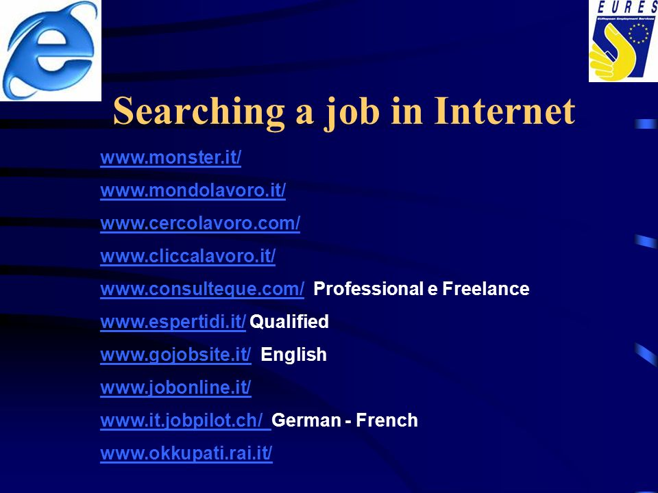 Searching a job in Internet