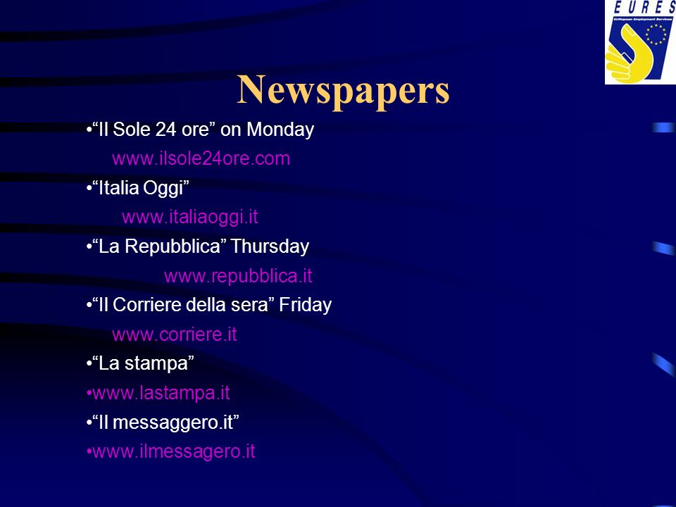 Newspapers Il Sole 24 ore on Monday www.ilsole24ore.com