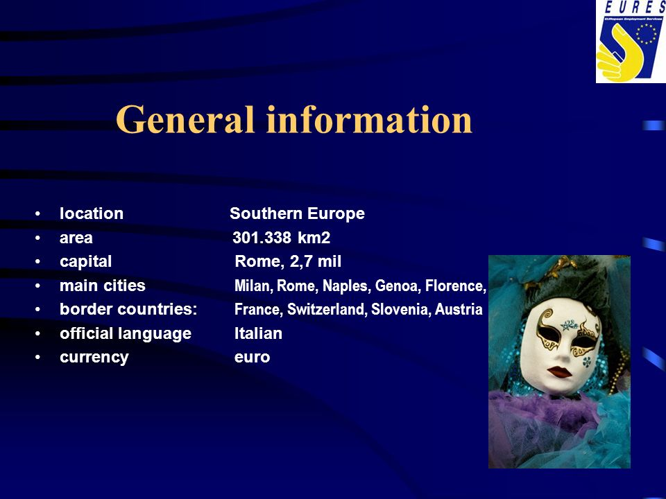 General information location Southern Europe area km2