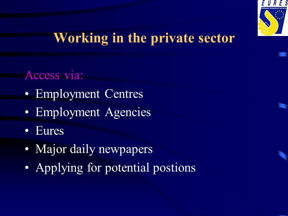 Working in the private sector