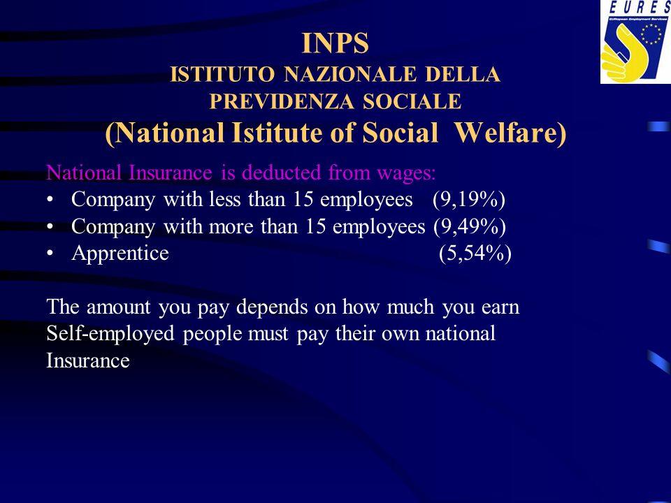 INPS ISTITUTO NAZIONALE DELLA PREVIDENZA SOCIALE (National Istitute of Social Welfare)