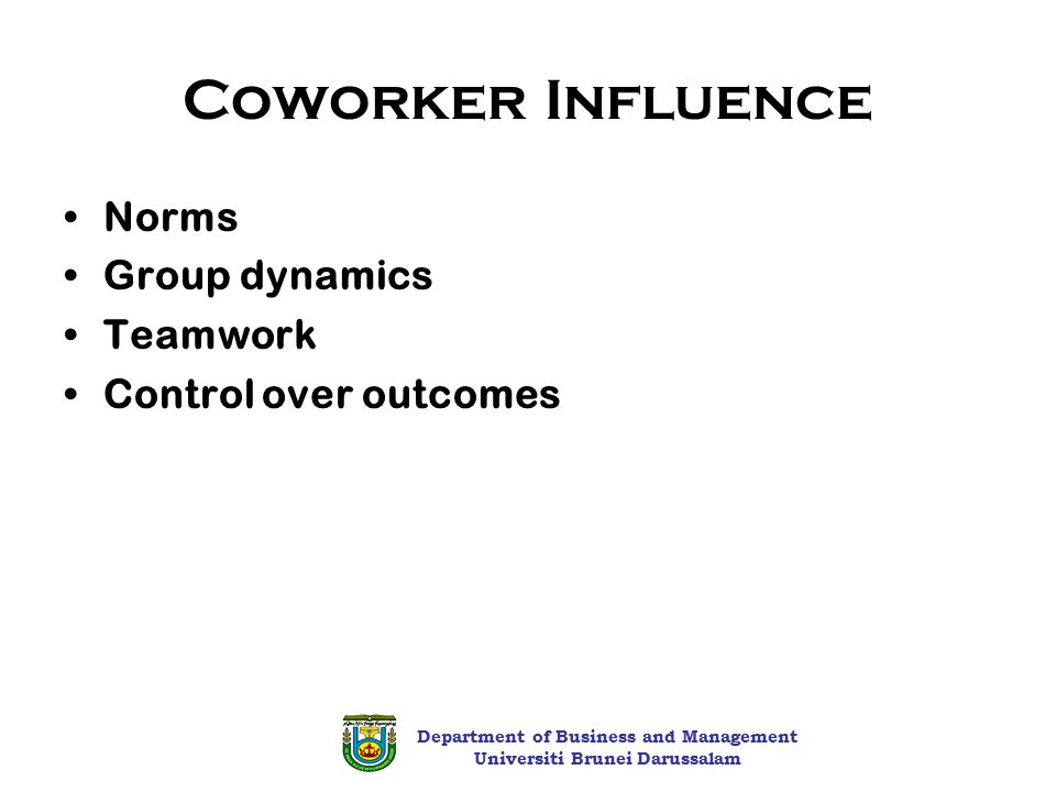 how group norms influence the behavior of individuals These studies found that worker behavior was highly influence by group norms and that individual productivity was influenced by the 8: foundations of group behavior.
