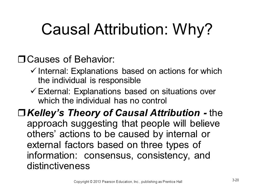 kelleys theory of causal attribution Attribution theory and perception lesson 5: attribution theory, attitudes, perception and paradigms study play  kelley's attribution theory suggests we go about making attributions for a behaviour by looking at an person's consensus, consistency, and distinctiveness for that behaviour.