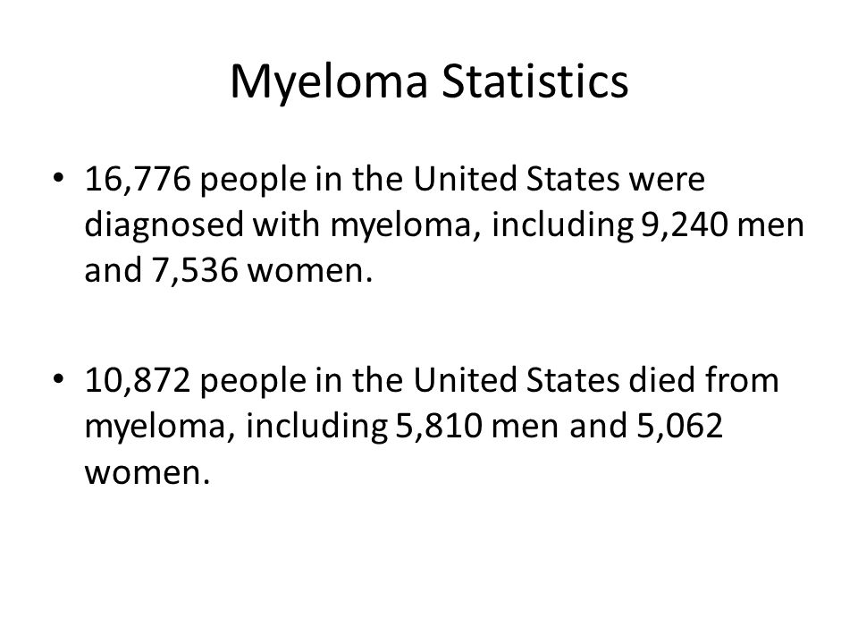 Myeloma Statistics 16,776 people in the United States were diagnosed with myeloma, including 9,240 men and 7,536 women.