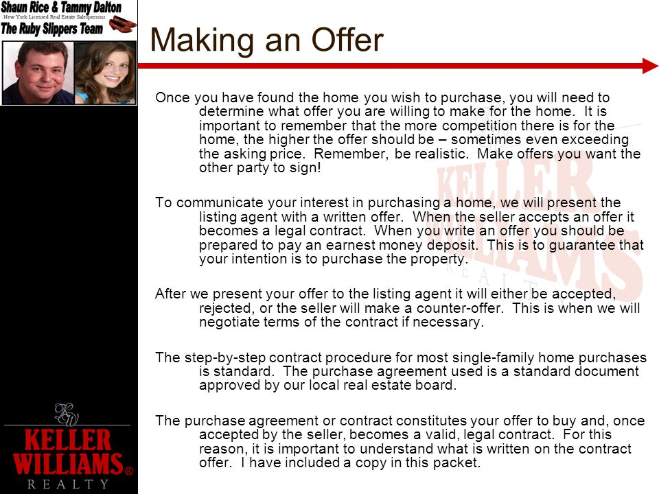 how to write up a real estate counter offer