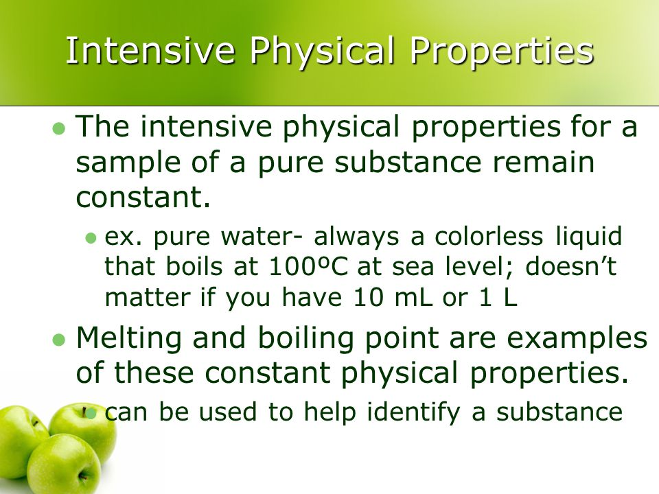 Intensive Physical Properties