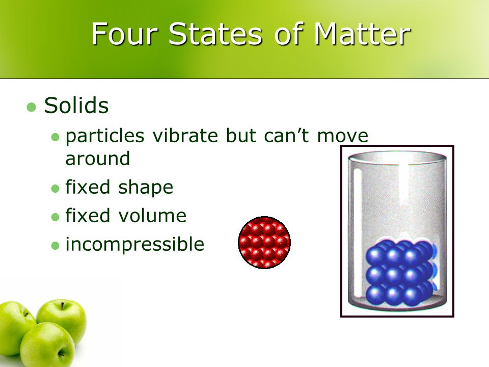 Four States of Matter Solids particles vibrate but can't move around