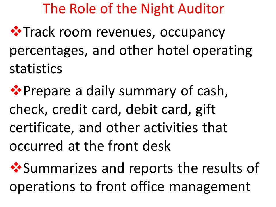 the role of the night auditor