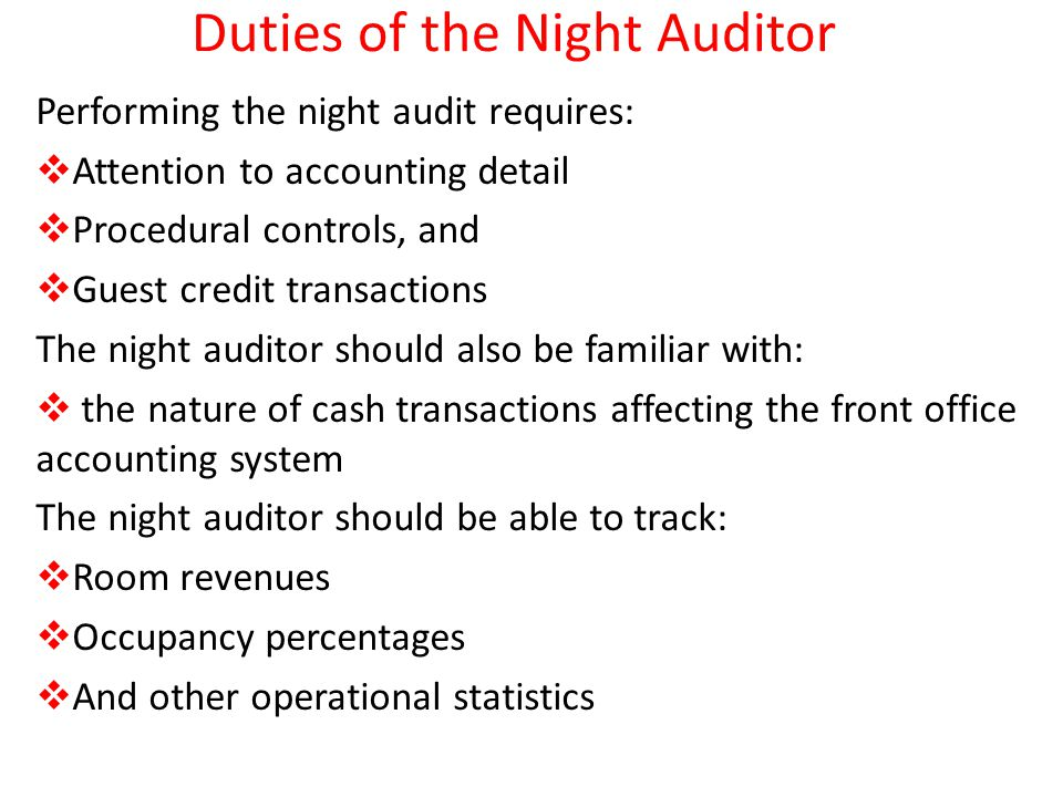 duties of the night auditor
