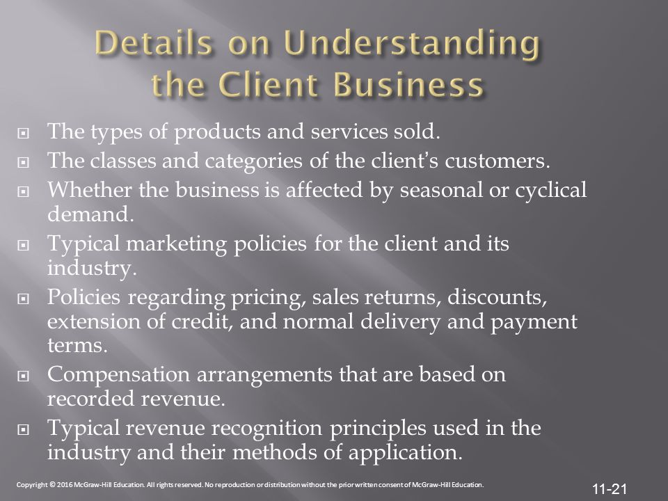Details on Understanding the Client Business