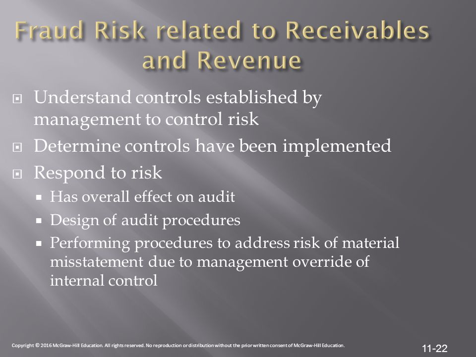 Fraud Risk related to Receivables and Revenue