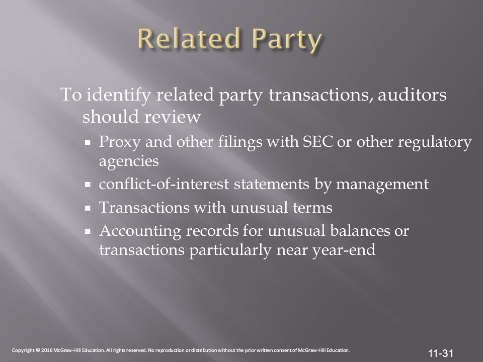 Related Party To identify related party transactions, auditors should review. Proxy and other filings with SEC or other regulatory agencies.