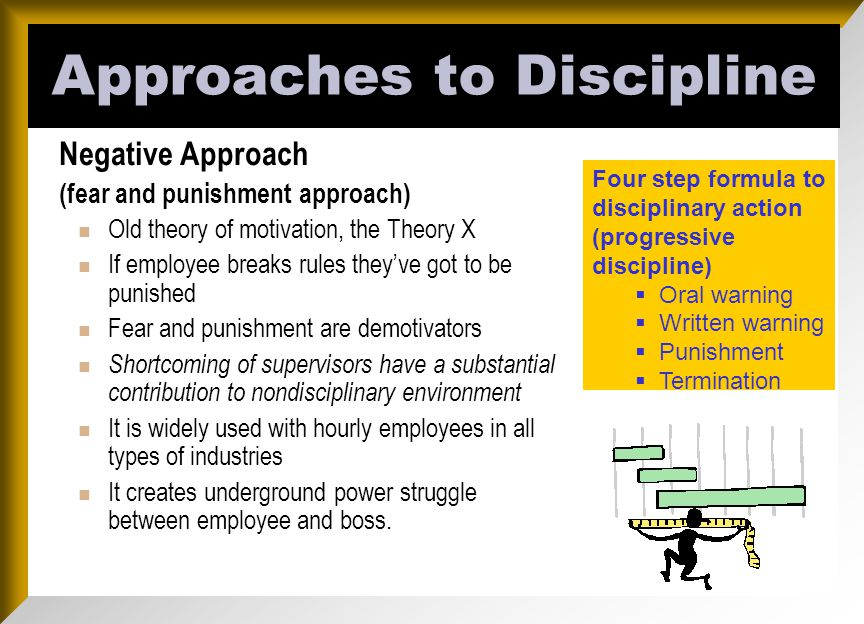 approach to discipline It's important to be consistent about discipline if you don't stick to the rules and consequences, kids aren't likely to either find out how to vary your approach to fit your family.