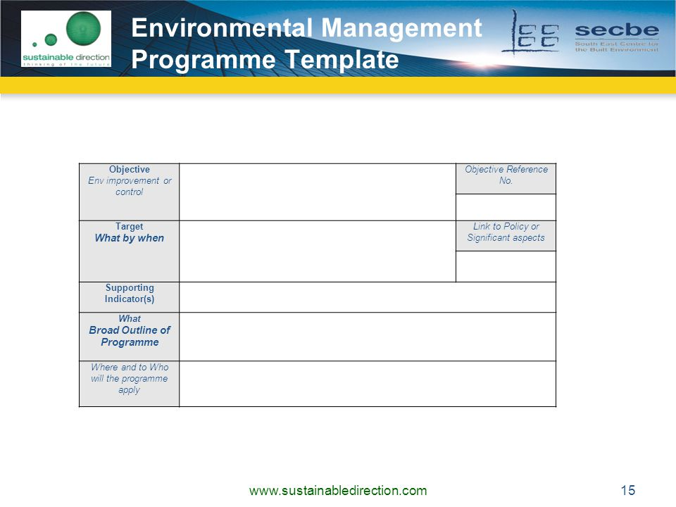Environmental Management Programme Template