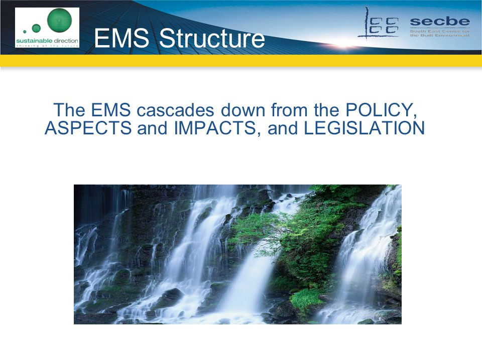 EMS Structure The EMS cascades down from the POLICY, ASPECTS and IMPACTS, and LEGISLATION.