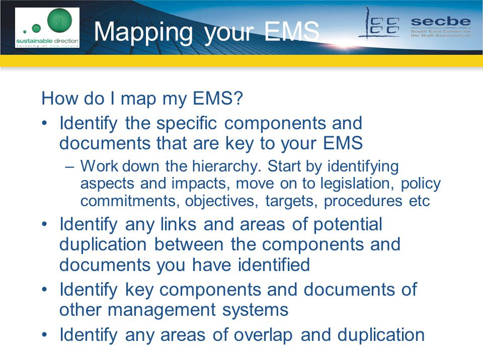 Mapping your EMS How do I map my EMS