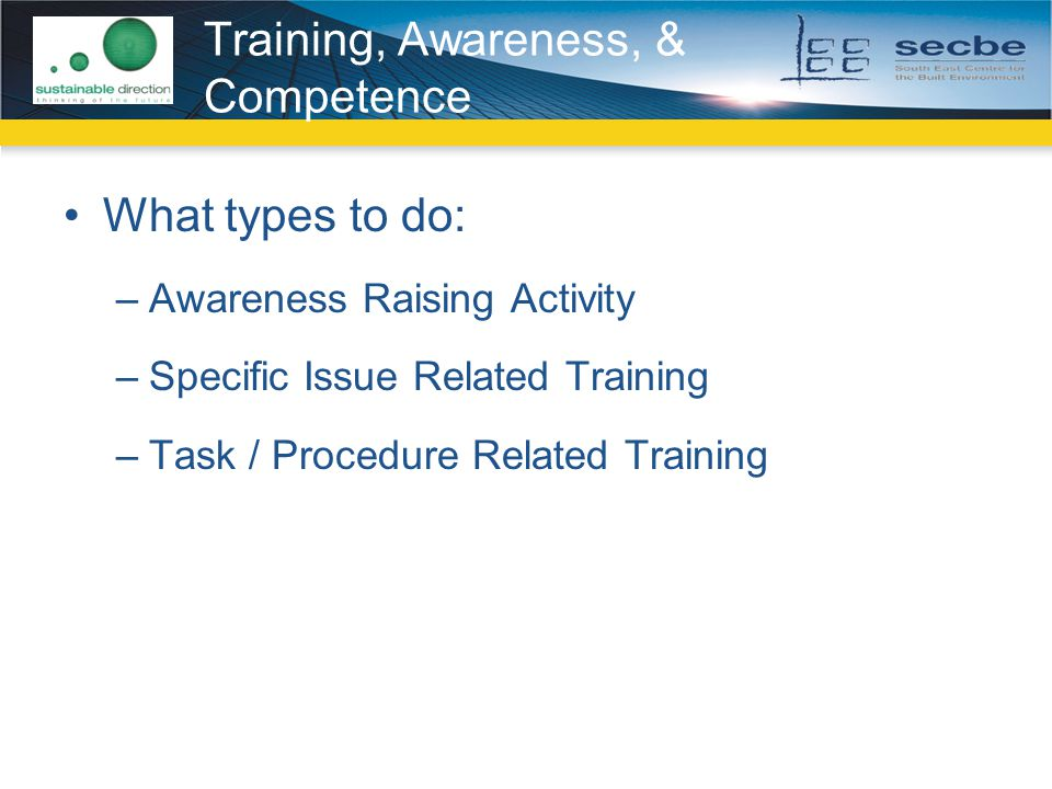 Training, Awareness, & Competence