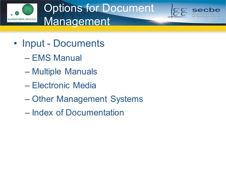 Options for Document Management