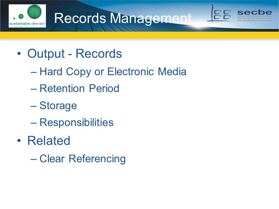Records Management Output - Records Related