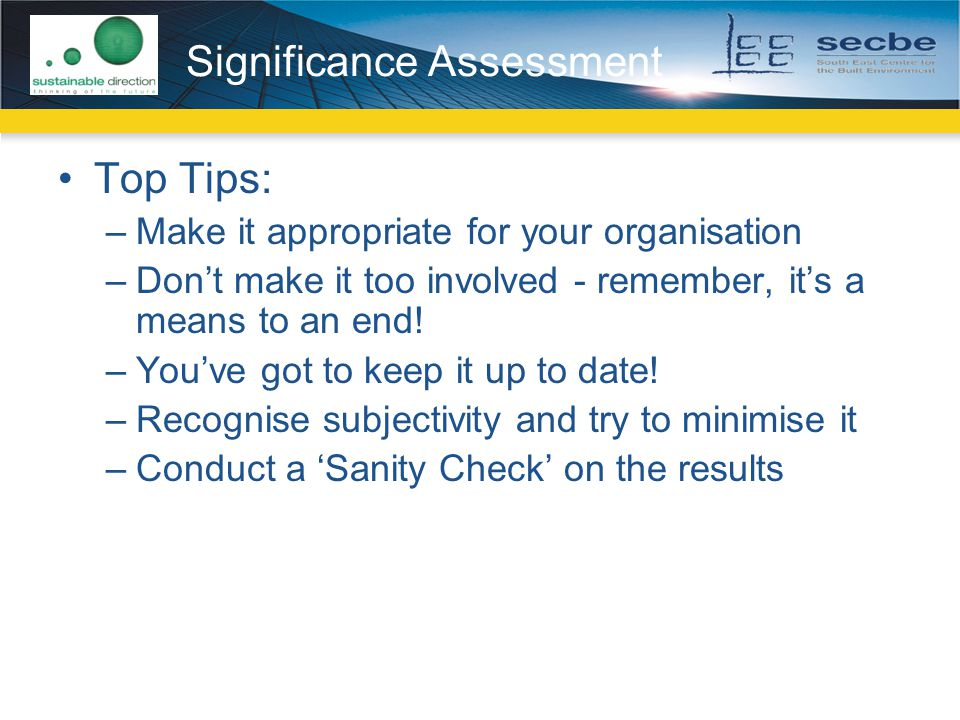 Significance Assessment
