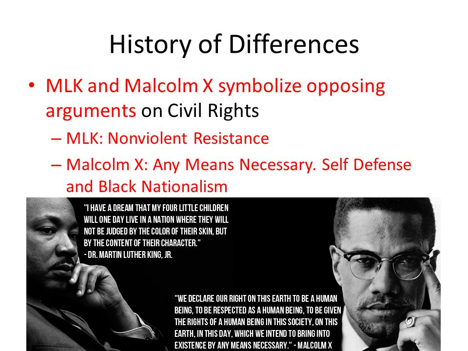 A comparison of martin luther king and malcolm x two civil rights fighters