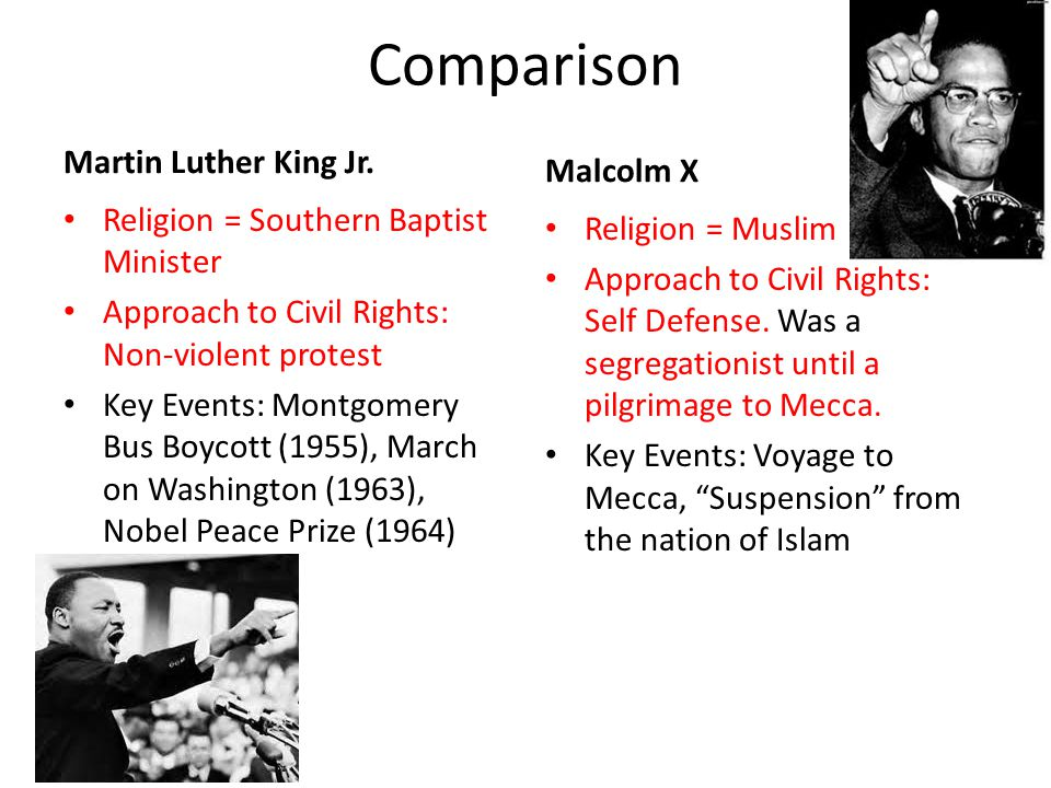 Compare and contrast Martin Luther King and Malcolm X.