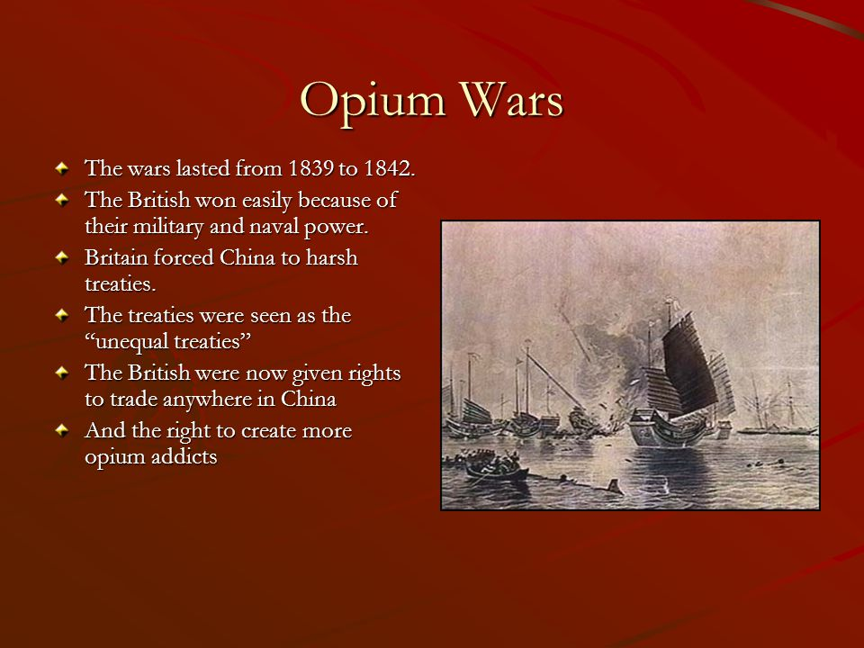 opium wars and treaties of nanjing 1842 – first of the unequal treaties (treaty of nanjing) 1851 – taiping  rebellion 1856 – second opium war 1860 – burning of old summer.