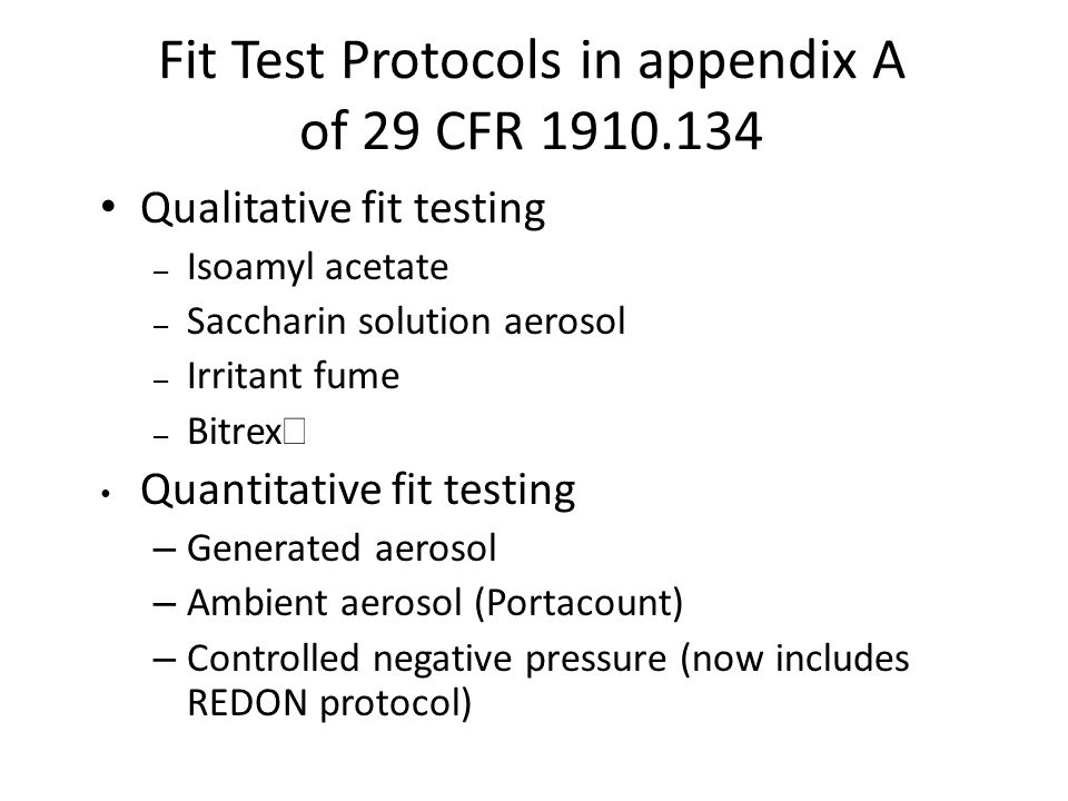 Fit Testing of Respiratory Protection in the US - ppt download