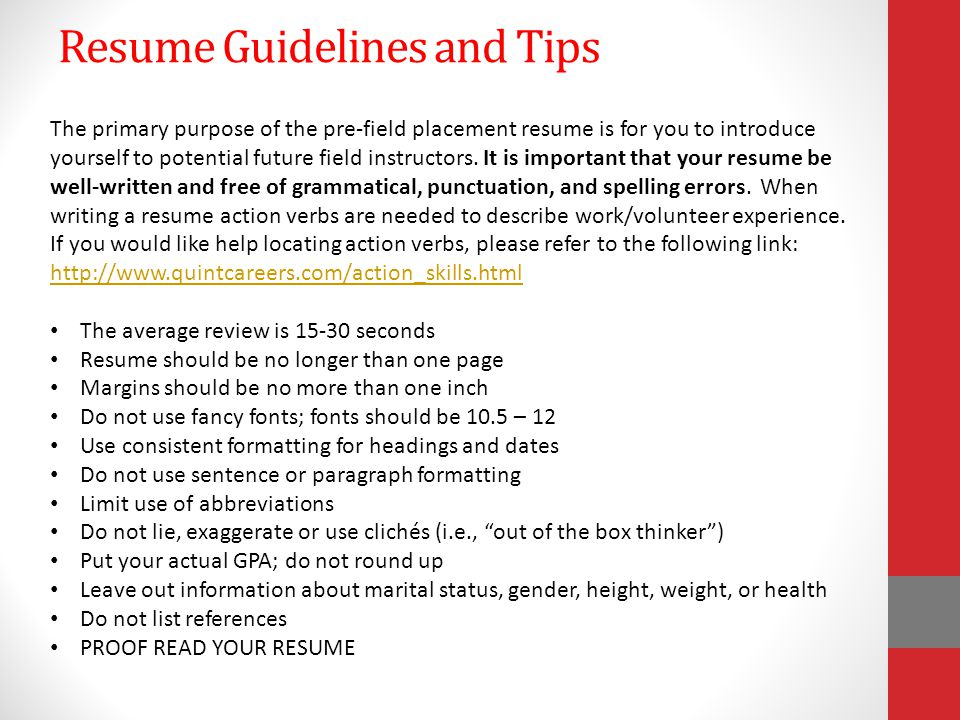 rules for references resume