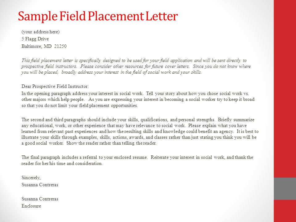 Applying for field congratulations ppt download for Sample cover letter for student placement